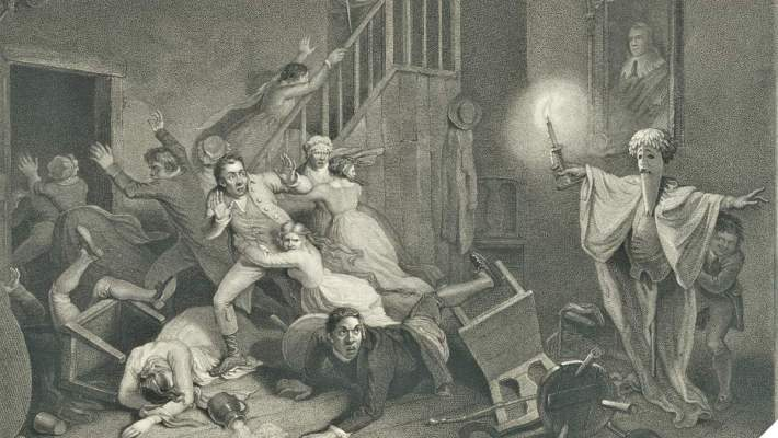 A 1700s engraving showing a room of people being scared by a faux ghost. (Photo: Library of Congress)