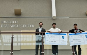Gordon Ringold joins Intel finalists Rohan Mahajan and Nikhil Parthasarathy, both seniors, on the mezzine in Nichols Hall by the Goldman Research Center, a laboratory funded by Gordon and Tanya Ringold