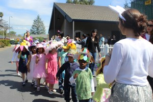 Kindergartners Show Off Homemade Hats During Spring Hat Parade