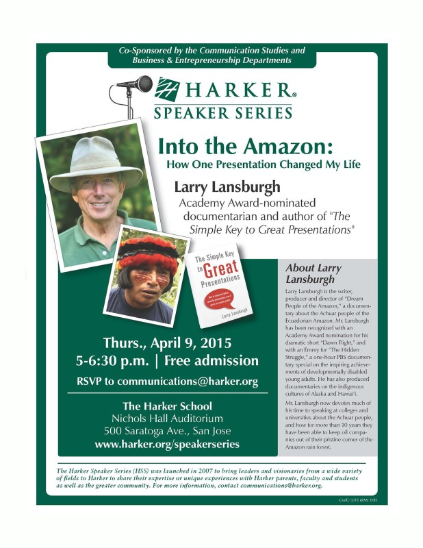 """Into the Amazon"" Speaker Coming to Harker April 9"