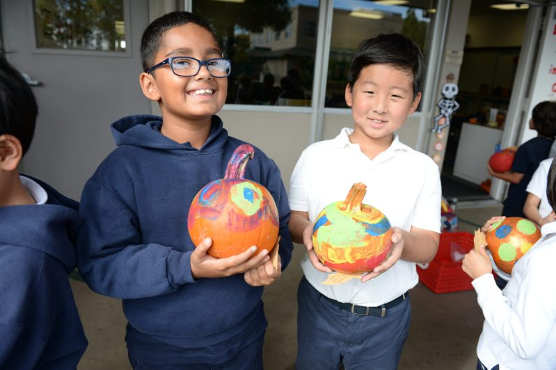 Grade 2 Students Deliver Decorated Pumpkins to Neighbors