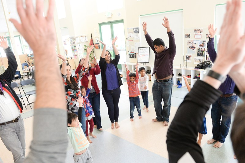 Preschoolers and parents join for music and movement fun