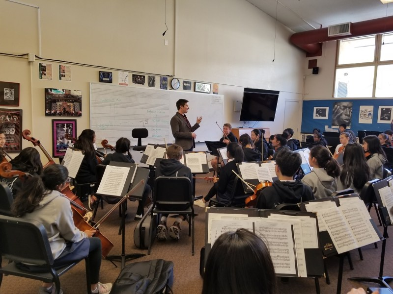SFSU orchestra director visits middle school music students