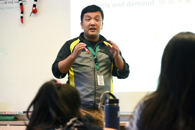Shanghai exchange teacher observes, teaches Harker classes