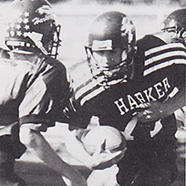 Adam Vucurevich '02, scorer of Harker's first touchdown, named inaugural member of Harker Athletic Hall of Fame