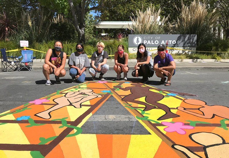 Students and faculty contribute to Palo Alto Black Lives Matter mural