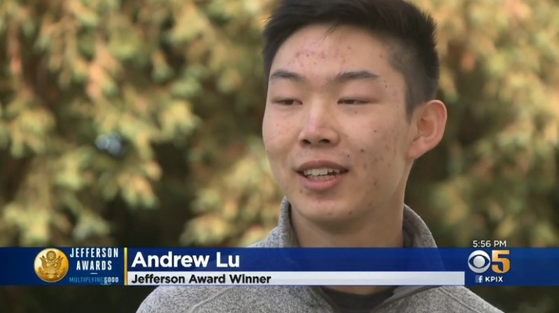 Senior Andrew Lu discusses student-founded nonprofit with CBS Bay Area