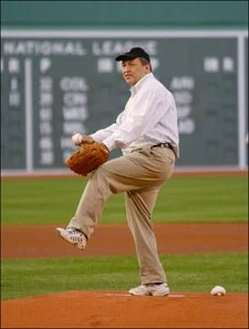 President Summers on the mound at Fenway