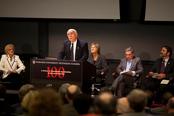 Harvard University Extension School Dean Michael Shinagel launches the yearlong celebration of the School's centenary with a Sept. 25 convocation.  Among those participating in the convocation were Dorothy Austin (seated from left) President Drew Faust,  Álvaro Uribe, and William Fash.