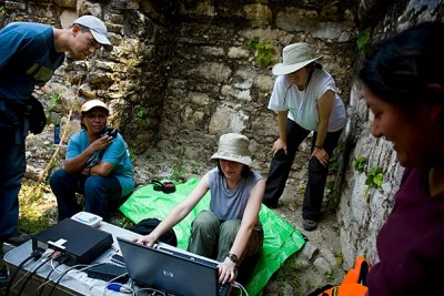 In 2007, Harvard researchers Hugo Garcia (from left), Reina Flores, Vicky Karas, Barbara Fash, and Citlali Sanchez were in Yaxchilan, Mexico, bringing new technology to the archaeological site.