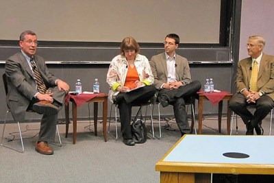 """Robert Blendon (left), Julie Rovner, Ezra Klein, and Timothy Johnson discuss """"Covering Health Care Reform in the Digital Age."""" The panel event, which was co-sponsored by the Shorenstein Center, was part of the Kennedy School's Public Service Week events."""