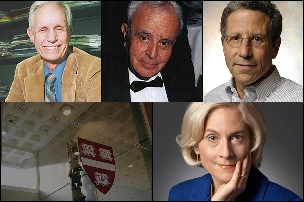 This year, the GSAS has recognized the following alumni with its Centennial Medal (clockwise from left): David Bevington, Stephen Fischer-Galati, Eric Maskin, and Martha Nussbaum.