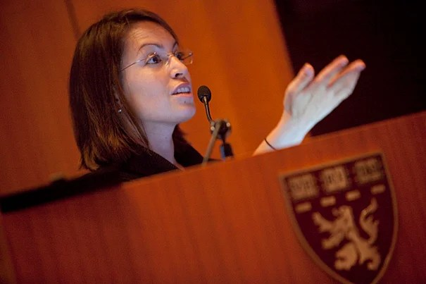 Galit Alter, assistant professor at Harvard Medical School, discusses her research during a symposium on HIV and AIDS.