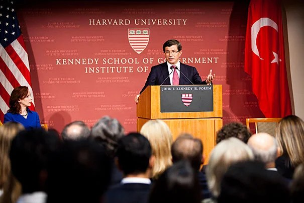 """Ahmet Davutoglu, Turkey's minister of foreign affairs: """"""""Each of us, we are representing humanity here, not individual nationalities."""" Davutoglu addressed a packed Harvard Kennedy School forum Tuesday night."""