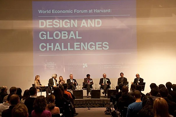 "The World Economic Forum came to the Harvard Graduate School of Design, bringing with it a discussion titled ""Design and Global Challenges."" Groups, comprised of faculty members and students,  discussed each of six issues: trade, population growth, the international monetary system, values, global governance, and the skills and mobility of the world's labor force."