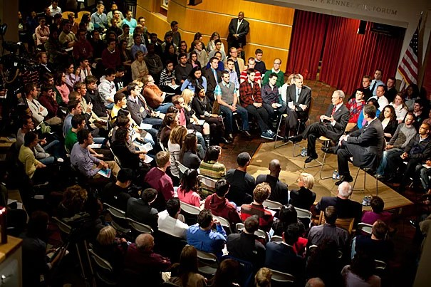 """Mayor Michael Bloomberg, a Republican turned independent, and Joe Scarborough, the host of MSNBC's """"Morning Joe,"""" both slammed the two-party system at a Harvard Kennedy School forum called """"The Midterms & Beyond: A New Way Forward."""""""