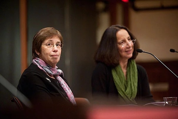 """Linda Greenhouse (left), a former New York Times reporter and now the Joseph Goldstein Lecturer in Law at Yale University, and Reva Siegel, the Nicholas deB. Katzenbach Professor of Law at Yale, provided new perspectives on interpreting Roe v. Wade in a talk at Radcliffe Nov. 4. """"More than we expected, we found ourselves documenting political conflict which emerged … before the Supreme Court said a word,"""" Greenhouse told the audience."""
