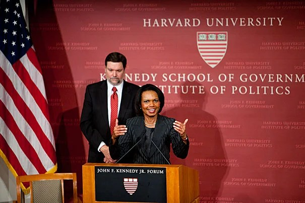 In her talk at the Harvard Kennedy School, Condoleezza Rice argued for an American foreign policy toward Africa that will promote internal and international stability, as well as the American ideal of democratic governance. Harvard Kennedy School Dean David T. Ellwood is pictured behind Rice.