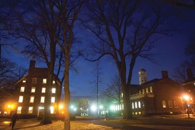 """Starting in 1636, Harvard officials decided structure by structure what to construct. But somewhere along the way, the built environment began to have a reverse effect, influencing how faculty, students, and staff behaved and interacted in daily life. The resulting campus developed what could be called """"the Harvard look."""""""