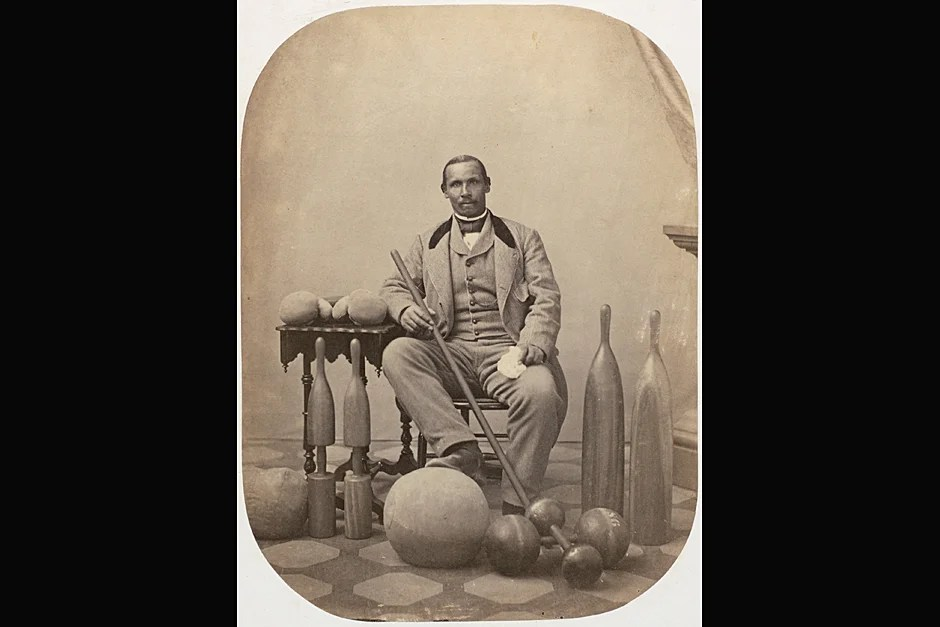 Professional boxing teacher A. Molyneaux Hewlett becomes superintendent of Harvard's new College Gymnasium and a gymnastics teacher. The first African American on Harvard's staff, Hewlett remains until his death in 1871. Photo ca. 1860. Credit: Harvard University Archives, call # HUP Hewlett, A. Molyneaux (3a)