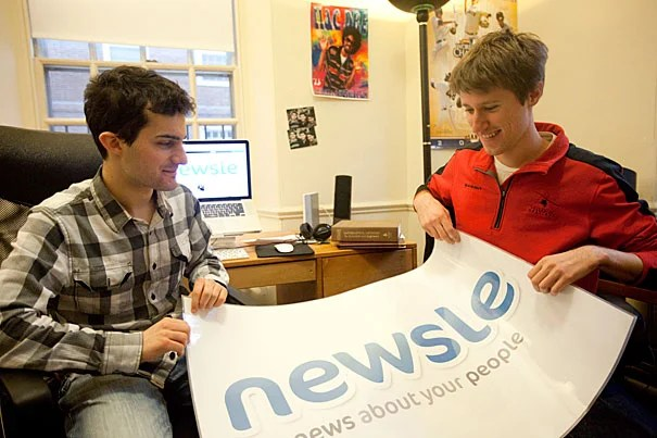"""Jonah Varon (right) and Axel Hansen, two Harvard sophomores, have created a new website that seeks to out-Google Google when it comes to tracking down news about your friends. """"Facebook is so full of social noise that you don't get the important stuff,"""" Varon said. """"There's less content here than if you went to [someone's] Facebook page, but it's more meaningful."""""""