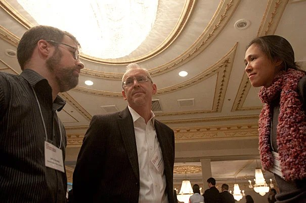 """John Crowley (from left), Gregg Greenough, and Jennifer Chan authored the report """"Disaster Relief 2.0,"""" released on March 28. The report looks at the new information flows, such as the Haiti OpenStreetMap, that result from recent technological advances."""