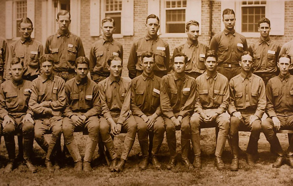"Harvard University Archives image. Inscription reads, ""Company F, Harvard ROTC 1918."" Stephanie Mitchell/Harvard Staff Photographer"