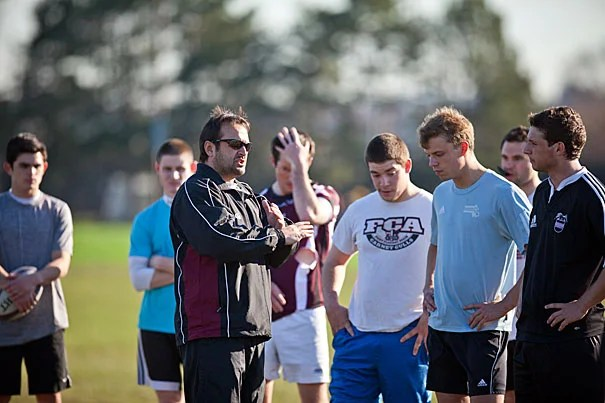 """""""We can't afford to take anyone lightly. Harvard rugby is the oldest team in the country, so we're a great scalp for any team to take,"""" said Harvard rugby coach David Gonzales (above), who is prepping his team for the upcoming national championships."""