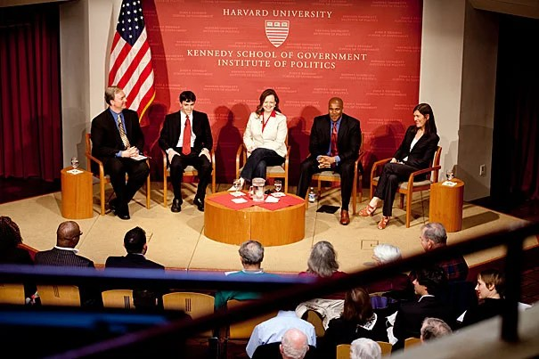 """Director of the Institute of Politics Trey Grayson (from left) moderated a panel on the tea party movement featuring Andrew Hemingway, Jenny Beth Martin, Shannon Travis, and Kate Zernike. """"They won, and now they have to govern and run on their record, and how that plays out is going to be one of the most interesting stories in American politics,"""" Grayson said."""