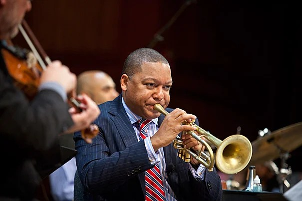 """""""Music is the art of the invisible,"""" said Wynton Marsalis. """"It gives shape and focus to our innermost inclinations, and can clearly evidence our internal lives with shocking immediacy."""" Marsalis was on campus to kick off a two-year performance and lecture series, speaking on a variety of topics to illuminate the relationship between American music and the American identity."""