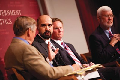Graham Allison (far left) moderates a discussion at the JFK Jr. Forum with Wajahat S. Khan (left), Bob Kinder, and Rolf Mowatt-Larssen on the death of Osama bin Laden in Pakistan.
