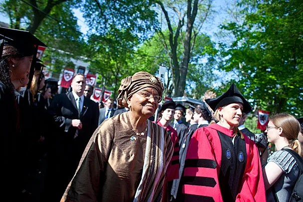 President of Liberia Ellen Johnson Sirleaf (left) arrives in the Yard. Sirleaf was chosen as the speaker for Harvard's Afternoon Exercises.
