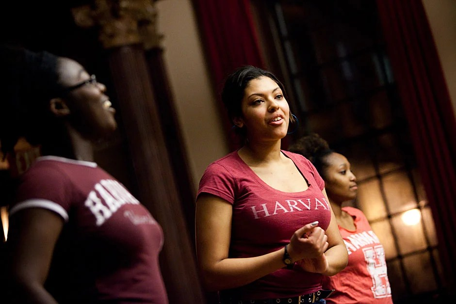 Winthrop House residents crowded into the House's Junior Common Room to attend the inaugural Winthrop Winter Showcase. Step dancers Sarah Peprah '13 (from left), Kayla Shelton '13, and Rachel Byrd '13 perform syncopation, a modern hip-hop style that draws from African roots. Stephanie Mitchell/Harvard Staff Photographer