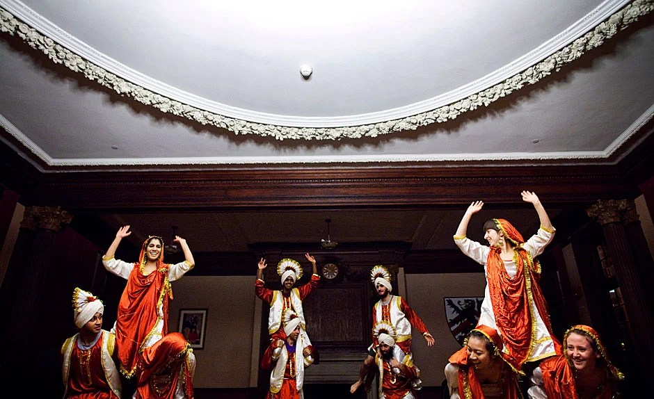Students from Harvard Bhangra perform an energetic dance that draws from Punjabi culture and rhythms. Stephanie Mitchell/Harvard Staff Photographer