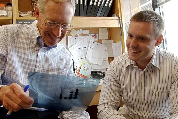 Senior author Dennis Selkoe (left) and first author Tim Bartels hope the study leads to new lines of attack against Parkinson's disease.