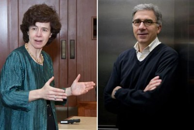 Rebecca M. Henderson (left) of the Harvard Business School and Douglas Melton of the Faculty of Arts and Sciences and the Harvard Medical School were named University Professors in recognition of their dedication to teaching and groundbreaking scholarship that crosses academic boundaries.