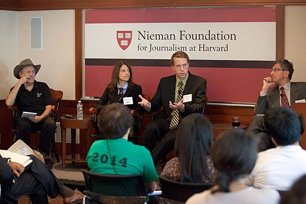 """If you don't want [undocumented workers] in the country, you should be happy. But in fact you would be much happier if they were trying to get into the country because that means we have a good recovery,"" said Harvard Professor Richard B. Freeman (far left) during ""The Futures of Immigration: Scholars and Journalists in Dialogue"" conference at Harvard. Joining Freeman were Cindy Rodriguez (second from left), Gary Painter, and Edward Schumacher-Mato."