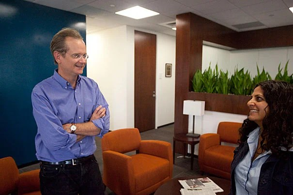 """""""Optimistically, we'll get fresh thinking on ways to look at the wrong kinds of influence,"""" said Lawrence Lessig. Lessig is director of the Edmond J. Safra Center for Ethics. Neeru Paharia (right) is the center's research director. Harvard's Edmond J. Safra Center for Ethics is launching a contest to generate ideas to monitor institutional corruption."""