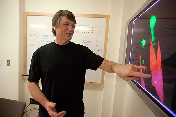Harvard Professor  Craig Hunter is the lead author of a report that identifies two types of RNA that are able to move between cells as part of a process called RNA interference, which scientist can use to silence specific genes. This discovery is a key step in the development of RNAi as a therapeutic with potentially huge effects on medicine.