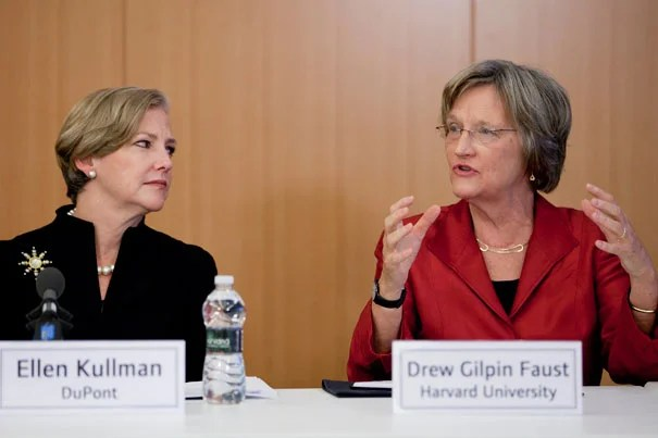 "Ellen Kullman (left), president and CEO of DuPont, listens as Harvard President Drew Faust speaks at a special Washington, D.C., roundtable that brought together university heads and leaders of major companies. ""We face a unique and pressing opportunity to address the future of innovation,"" Faust said. ""We believe it's important to amplify our collective voices … and describe our shared goals more forcefully and effectively."""