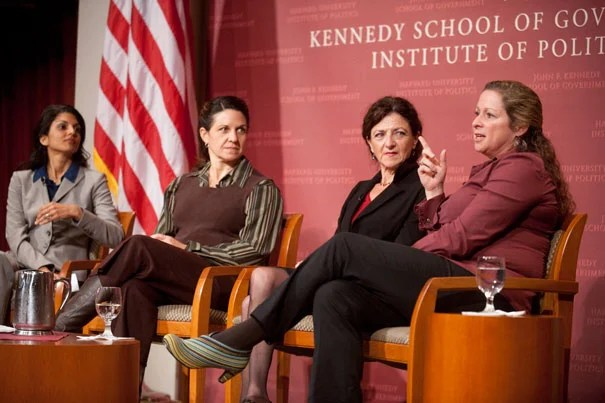 "Women's voices have long been absent from stories of war — and from the process of peacemaking. A group of women scholars and filmmakers gathered at the Kennedy School to explore those untold stories in conjunction with the new PBS series ""Women, War, and Peace."" The panel included moderator  Sahana Dharmapuri (from left), Elizabeth Medina, Helen Benedict, and Abby Disney."