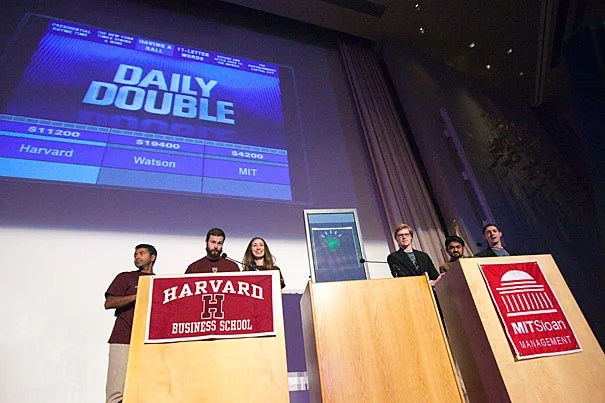 "Harvard Business School and MIT Sloan students put IBM's groundbreaking, ""Jeopardy!""-winning computer to the test in a live match-up. But outsmarting Watson, it turns out, is a not-so-elementary task."