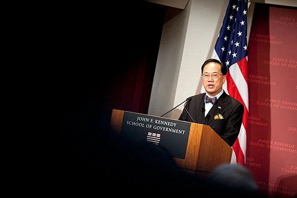 """""""In some ways Hong Kong has had an easier time over the past decade than many other economies,"""" Donald Tsang told his Harvard Kennedy School audience. """"Our freedom from public debt, our position beside China's growing economy, our prudent banking supervision — these have all helped to cushion us from some of the shocks that have come our way."""""""