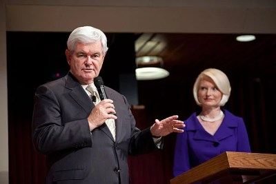 """Post-Watergate micro-democratization of financing is a spectacular disaster,"" said Republican presidential candidate Newt Gingrich (seen here with wife, Callista). ""We'd be vastly better off if anyone could give as much as you want, and it would be reported every night on the Internet."""