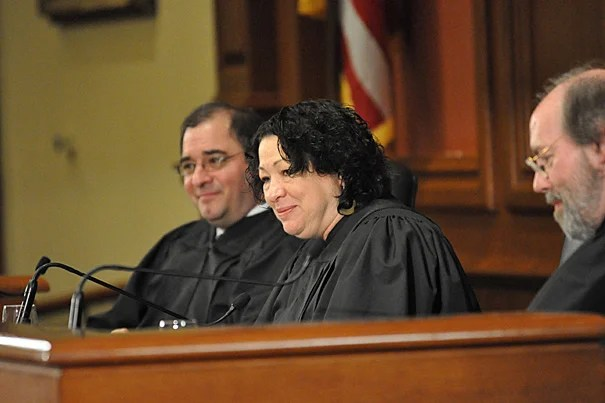 """This is really hard. The hardest thing you could do as a lawyer is to argue before the Supreme Court,"" U.S. Supreme Court Justice Sonia Sotomayor told Ames Moot Court competitors. Sotomayor, along with Peter J. Rubin (left), J.D. '88, of the Massachusetts Court of Appeals and Chief Judge Frank H. Easterbrook of the U.S. Court of Appeals for the Seventh Circuit Court, judged the competition."