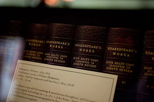 """There are also a few common sense restrictions on archival materials, """"in many cases because of fragility,"""" said Houghton assistant curator Heather Cole. That includes items that predate Christ, like the extensive collection of documents on papyrus. It also extends to the John Keats manuscripts and to the Emily Dickinson family books that are printed on brittle stock."""