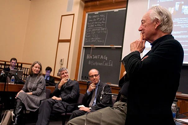 """The Fate of Civic Education in a Connected World"" was the topic of a ""Fred Friendly"" session at Harvard Law School this week. Among the panelists were Elizabeth Lynn (from left), Peter Levine, Juan Carlos De Martin, and Charles Nesson. Also present were Ellen Condliffe Lagemann and Harry Lewis."