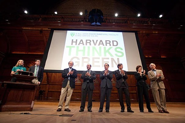At the first Harvard Thinks Green, six Harvard professors gathered at Sanders Theatre to provide just that kind of thinking. They included Eric Chivian (from right), Rebecca Henderson, Christoph Reinhart, Robert Kaplan, Richard Lazarus, and James McCarthy. Hosting the event were Office for Sustainability Director Heather Henriksen (far left at podium) and event co-founder Peter Davis '12.