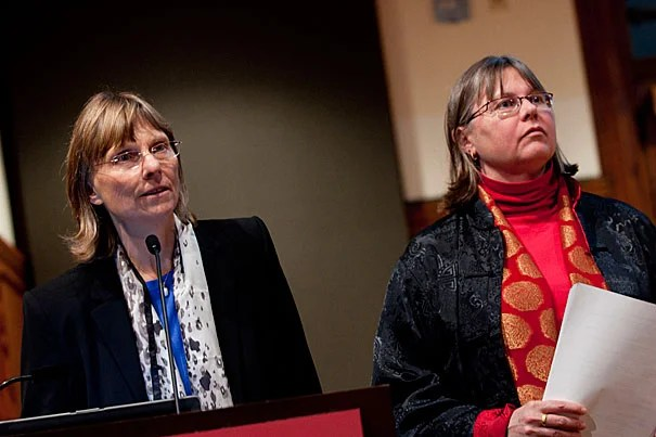 """""""For me the question about foot binding has always been 'how could rural families afford to lose women's labor'?"""" said Laurel Bossen (left), the Carl and Lily Pforzheimer Foundation Fellow at the Radcliffe Institute for Advanced Study. Bossen and Melissa Brown (right), Radcliffe's Frieda L. Miller Fellow, shared their research on the practice of foot binding."""