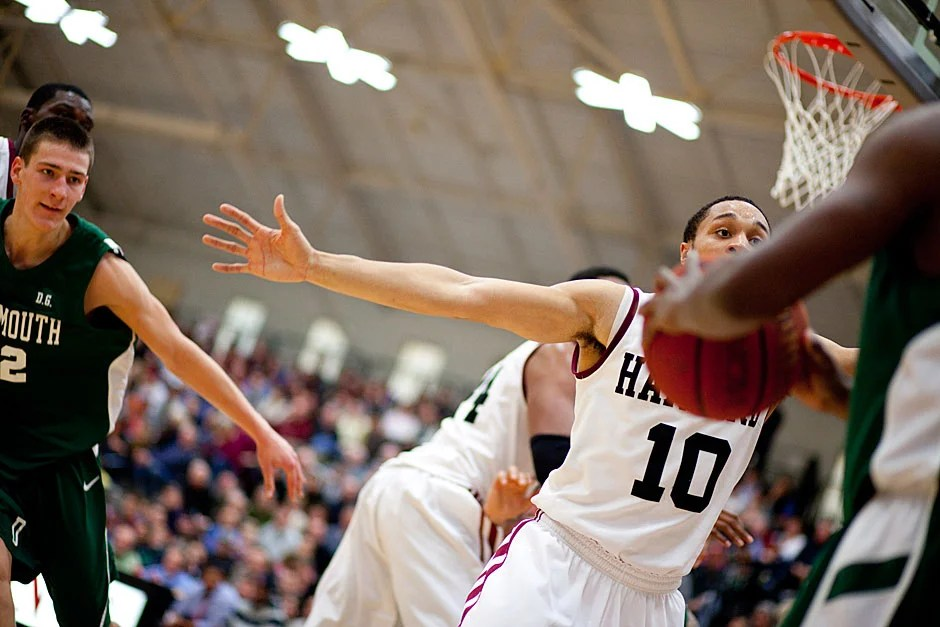 Brandyn Curry helped the Crimson offensively and defensively as they shut down Dartmouth. Rose Lincoln/ Harvard Staff Photographer